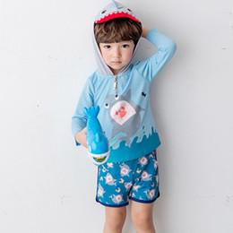 Costumi da bagno Costumi da bagno Costumi da bagno Shark Print Costume da bagno 2 pezzi Top e shorts con cappello da bagno Costumi da bagno estivo da vestiti di ananas per bambini fornitori