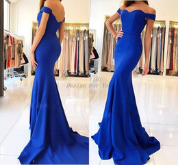 c5f8a363fe52 summer garden wedding guest dresses Promo Codes - Royal Blue Mermaid Bridesmaid  Dresses 2019 Off Shoulder