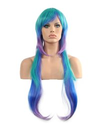 Canada Charme Femmes Longue Bleu Vert Pourpre Mixte Oblique Frange Droite Kanekalon Résistant À La Chaleur Cosplay Partie Cheveux Perruque Complète Perruque Offre