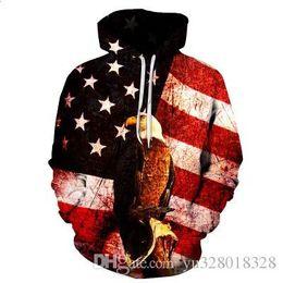 Im herbst 2017 neue 3D Amerikanische Flagge Adler stempel hut tasche hoodies männlich Mit Kapuze Pullover flut männlich, freies verschiffen von Fabrikanten