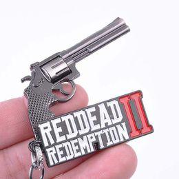 Argentina 2019 Nuevo Juego Red Dead 2 Redención Llavero Revólver Pistola Modelo de juguete Llavero de metal llaveros Bolsa de coche Cadena dominante Joyería Chaveiro supplier revolver keychain Suministro
