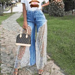 длинные широкие джинсы Скидка High Waist Perspective Jeans For Women Fashion Star Printing Lace Loose Denim Pant Casual Female Long Wide Leg Tassel Trouser