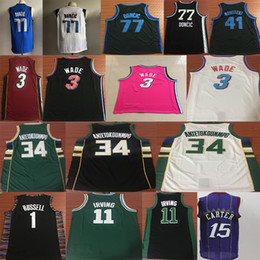 NCAA Dwyane 3 WADE 11 Irving Giannis 34 ANTETOKOUNMPO RUSSELL 1 BOOKER 77 DONCIC Vince 15 Carter College Basketball Jersey desde fabricantes