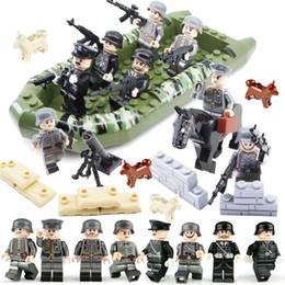 WW2 солдат немецкой армии мини-игрушка фигура военный строительный блок кирпич набор с лодкой лошадь оружие игрушка для мальчика от