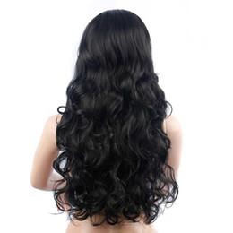 Largo y rizado Cabello negro Ondulado grande Oblique Bangs Fluffy peluca Headgear Lace Front Pelucas de pelo para mujeres Cabello Lace Front Bob pelucas desde fabricantes