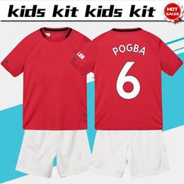 stagioni bambini Sconti Kids Kit 2019 United soccer Jersey home rosso # 6 POGBA 19/20 New season # 10 RASHFORD Child kit calcio Maglietta personalizzata con pantaloncini