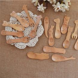 2019 strumenti di legno giapponesi Cucchiaio di legno naturale dei bambini Cucchiaio di animali sveglio del fumetto di stile giapponese Bambini Stoviglie di legno Utensile da cucina di stile casuale strumenti di legno giapponesi economici