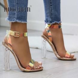 Saltos claros on-line-2019 Verão PVC Claro Transparente Strappy Sapatos de Salto Alto Mulheres Sandálias Peep Toe Sexy Partido Senhoras Femininas Sapatos Mulher Sandalias