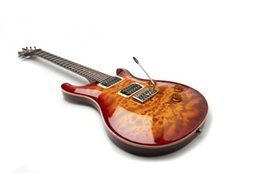 Guitarra eléctrica de caoba natural online-Custom 24 Reed Smith Guitar 2008 Tiger Flame Maple Top Vintage Burs 57 Guitarra eléctrica Abalone Flower Inlay Natural Mahogany Back and Sid