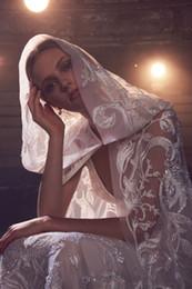 véu de mantilha Desconto Véus De Noiva De Luxo Com Bonnets Uma Camada de Tule Mantilla 2.5 m Comprimento Capela Lace Applique Lantejoulas Casacos Wraps de Casamento Acessórios de Noiva