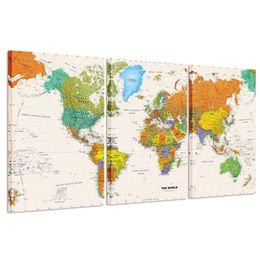 Фотография карта мира онлайн-World MAP Canvas Art - Печать на холсте премиум-класса - Большая красочная стена в стиле арт-деко - Картина на холсте, готовая к вывешиванию Перевозка груза падения