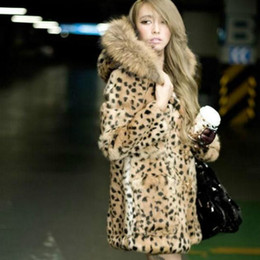 2019 abrigos de invierno de piel Elegante mujer Invierno Faux Fur Bomber Leopardo imitación pelo de conejo Chaqueta de piel Piel con capucha abrigo rompevientos artificial con sombrero abrigos de invierno de piel baratos