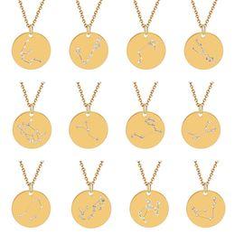 Tierkreis stahl anhänger online-12 Konstellation-Halsketten-Kristalltierkreis vorzügliche Halskette Anhänger Modeschmuck Will und Sandy Edelstahl Münze Halskette