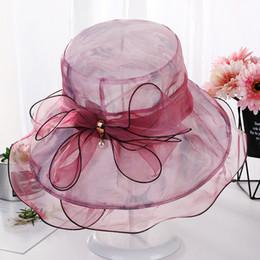 Fiore ondulato online-Wavy Side Wide Brim Hats Cappello estivo nuovo cappello da sole con cappello laterale ondulato