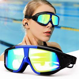 occhiali blu rossi adulti Sconti Cool occhiali da nuoto HD impermeabile anti-fog big box adulti tappi per le orecchie congiunti nuoto occhiali otto colori uomini e donne casual corsa cinque