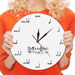 2019 более чем 60 брендов 1Piece Muscial Notes Wall Clock Modern Design Wall Watches Acrylic Clocks Music Theme Clock Decor For Living Room Best Gift скидка более чем 60 брендов