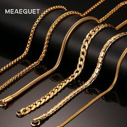 Hornfarbe halskette online-Ashion Schmuck Halskette Meaeguet 20 zoll Gold-farbe Edelstahl Kette Halskette Für Männer Frauen Schlange / Box / Hängen / Bordstein / Flach / Twist Kette ...