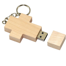 128gb unidades flash al por mayor online-Cruz de madera 32GB 64GB 128GB 256GB Madera Flash Drive Pen Drive USB 2.0 Memory Stick u disco usb regalo creativo / venta al por mayor