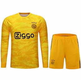 2019 AJAX FC DE JONG TADIC Maglie portiere di calcio HUNTELAAR ZIYECH CRUYFF Giallo portiere Portiere degli uomini T Shirt + Short Set da