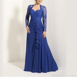 Милая аппликация с длинными рукавами, королевский синий шифон, платье для мамы невесты, оборки спереди, замочная скважина, сзади A-Line Платья горничной от Поставщики фиолетовый тафта чай длина платье