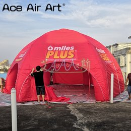 Custom 8m diameter red full covered inflatable spider tent with 6 pillars inflatable dome party tent trade show kiosk for advertising