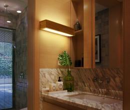 paredes cubiertas de madera Rebajas Moderno Estilo Japonés Rectángulo Cubierta de Acrílico LED Sólido de Madera de Roble Aplique de Pared Lámpara de Pared de Madera para la Sala de estar Accesorio de Luz LLFA