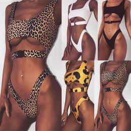 Push up bikini micro online-Bikini de corte alto 2019 Hebilla traje de baño sexy push up bañadores Bandeau traje de baño traje de baño de las mujeres leopardo micro bikini MMA1675