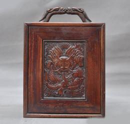 Caixa de jóias de madeira esculpida on-line-Natal chinesa antiga huanghuali madeira Mão decoração Caixas de caixa de jóias de casamento de armazenamento de dragão esculpido