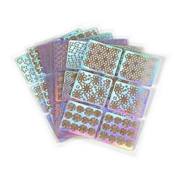 Uñas arte pegatinas decoracion hueca online-60 UNIDS / LOTE Nail Art Hollow Pegatinas Diseño de Estampación 3D Stencil Tip Plantilla DIY Manicura Calcomanías Decoración Estilo Mixto