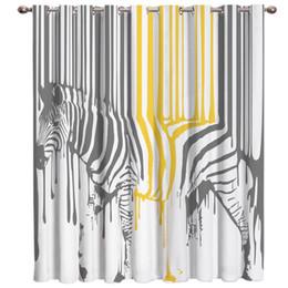 cortinas zebra para janelas Desconto Engraçado Animal Pintura Splash Zebra Cortinas de Sala Grande Janela Sala de estar Cortinas Quarto Ao Ar Livre Indoor Crianças Cortinas de Janela