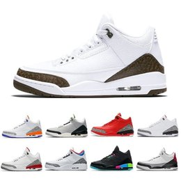 shoes korea sneaker Promo Codes - With Box High Quantity Hot 3 Katrina True Blue White Black Cement Basketball Shoes Men JTH Tinker Red Grateful Seoul Korea 3s j3 Sneakers