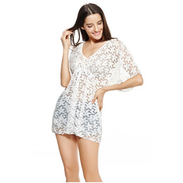 short beach swimwear dresses Promo Codes - Beachwear 2019 Sexy Women Sheer Cover Up Floral Lace V Neck Short Sleeve Swimwear Bikini Cover Beach Dress Blouse White Black G1295B-M