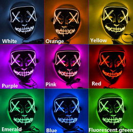 nuevas luces led de dj Rebajas Máscara de Halloween Horror LED que brilla Máscaras Máscaras Máscaras de purga Elección Mascara Party DJ vestuario Glow Light Up New 9 colores HH9-2415