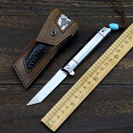 mini navajas de titanio Rebajas # 1 m390 cuchillo de acero en polvo cuchillo de aleación de titanio cuchillo de bolsillo mini cuchillo plegable de alta dureza sable herramienta de recolección de mano