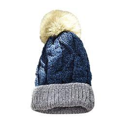 958970786a8 2019 Fashion Hat Women Color Block Knit Wool Beanie Cosy Winter Warm Bobble  Ski Pom Pom Hat Cap Hot sale