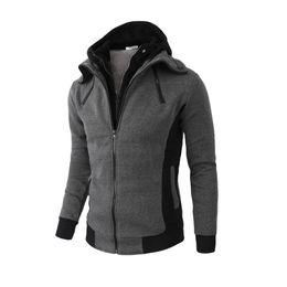 casaco esporte desportivo Desconto Novo Estilo dos homens Hoodies Slim Men Fit Duplo Zipper Esporte Casaco de Lã Masculina Com Capuz Moletom 2019 Jaqueta