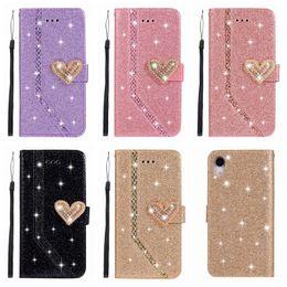 iphone 5s telefon fälle bling Rabatt Herz Sparkle Leder Brieftasche Fall für iPhone XR XS MAX X 10 8 7 Plus 6 6 S SE 5 5 S Liebe Bling Diamant Glitter Sparkly Luxus Telefon Flip Abdeckung