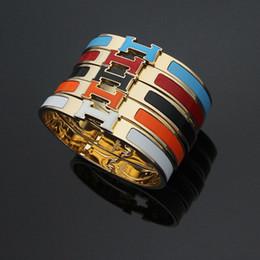 brazaletes de latón macizo Rebajas HB20 venta caliente H letra brazalete moda venta caliente H letra acero inoxidable brazalete hermoso enviar con bolsa de polvo pulsera