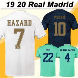 madrid real l jersey de futebol Desconto 19 20 Real Madrid HAZARD BENZEMA Camisas de Futebol MODRIC MARIANO SERGIO RAMOS KROOS Casa Fora 3RD Camisas De Futebol Dos Homens ISCO BALE manga curta