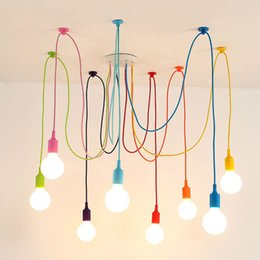lâmpada pingente de lustre de aranha Desconto Art EU Stock Modern E27 Colorful Luzes pendentes Aranha candelabro luminária interior decoração da lâmpada 6/8/10/12/14 Heads
