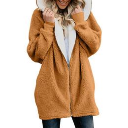 Más tamaño de piel sintética con capucha online-KUDE Mujeres Chaquetas Abrigo de Invierno de Las Mujeres Cardigans Señoras Cálido Jumper Fleece Faux Fur Hoodie Outwear Plus tamaño 5XL de gran tamaño 7479