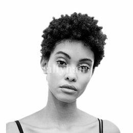 Perruques de cheveux vierges brésiliens vierges afro lutin coupe courte sans colle Cap Couleur 1B # Remy indien machine de cheveux humains faite perruque pour femmes noires ? partir de fabricateur