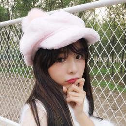 2019 cappello invernale della corea Cappellini da donna Coreani Cappellino caldo in tinta unita Cappuccio ottagonale invernale Cappello da berretto semplice per artista femminile palla grande pompon cappello invernale della corea economici