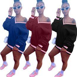 xl ladies short sleeve hoodie Desconto Marca Designer mulheres vestido com capuz V neck long sleeve Bordado carta saias curtas senhora queda casual vestidos soltos roupas de inverno saias 025