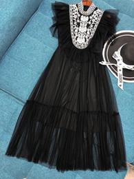 2019 weiße mesh-spitze kleidet frauen Milan Runway Kleid 2019 Vintage Schwarz / Weiß Spitze Mesh Lang Damen Kleid Designer Vestidos De Festa yy-50 günstig weiße mesh-spitze kleidet frauen