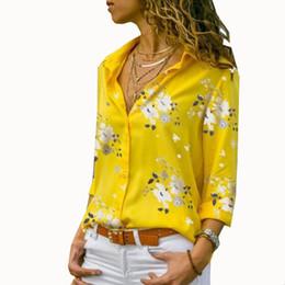 Chemisier de travail en polyester en Ligne-Femmes Tops Blouses 2019 D'été Élégant À Manches Longues Imprimer V-Cou Blouse En Mousseline De Soie Femme Travail Porter Chemises Plus La Taille 5XL Revers Blusa