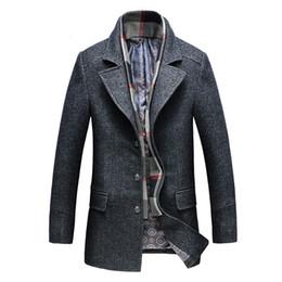 männer wollmäntel Rabatt 2019 Winter Herren Casual Wolle Trenchcoat Fashion Business Lange Verdicken Dünne Mantel Jacke Männliche Woll Tweed Windschutz