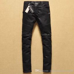 Jeanshose falten online-Neue Marke Männer schwarze Jeans für Männer Knie Falten Beschichtung Wachsen Lokomotive Jeans Hosen Motorrad Hosen Casual Denim Hosen Hosen