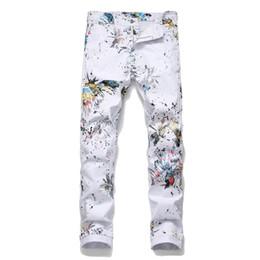 живопись стрекозы Скидка Мужские джинсы с принтом в виде стрекозы. Модные облегающие брюки с цветным рисунком. Ночной клуб. Небольшие прямые мужские повседневные брюки.