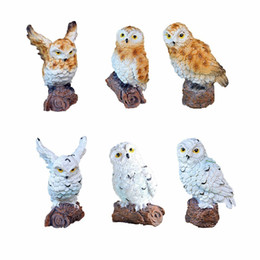 Miniaturas de casa on-line-6-style Mini Artificial Owl animal Miniature Fada Garden Home House Decoration Diy Craft Micro Paisagismo Decor Acessórios C19041601